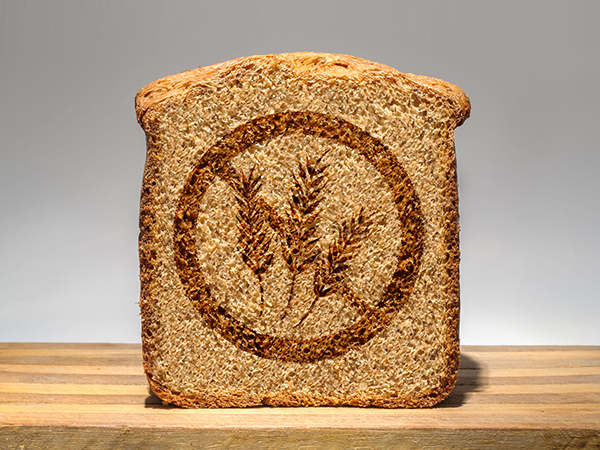 Bread slice marked with gluten free stamp
